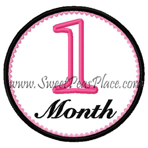 1st Month Applique Embroidery Design