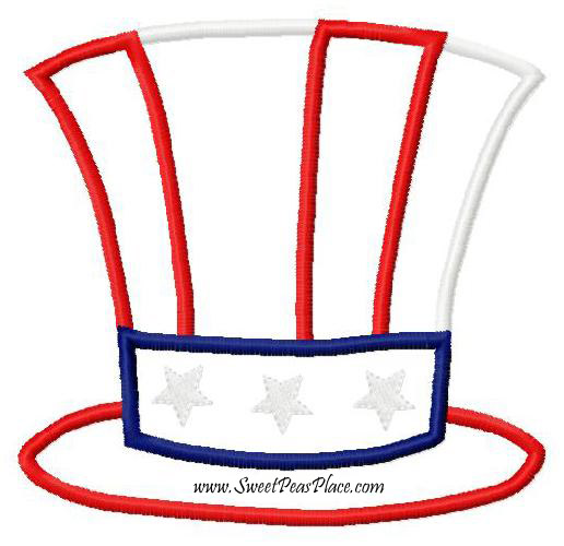 Fourth of July Hat Applique Embroidery Design