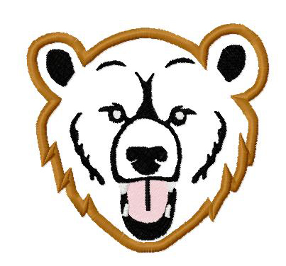 Grizzly Bear Applique Embroidery Design