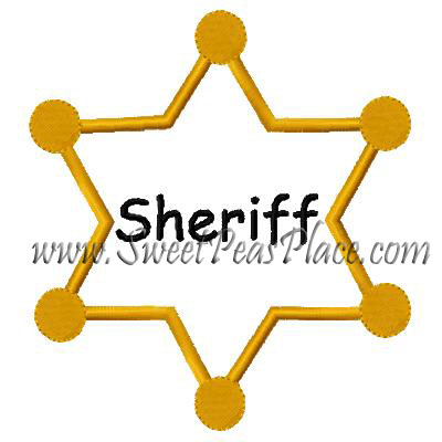Sheriff Badge Applique Embroidery Design
