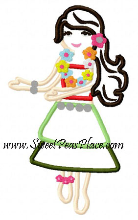Aloha Girl Applique Embroidery Design