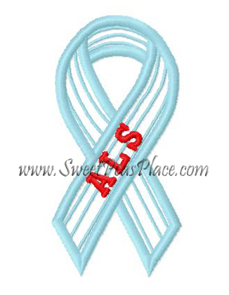 Awareness Ribbons, ALS Ribbon Applique Embroidery Design, Sweet Peas