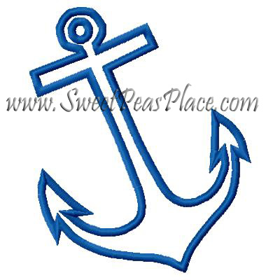 Anchor 2 Applique Embroidery Design