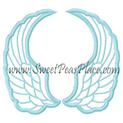 Angel Wings Applique Embroidery Design