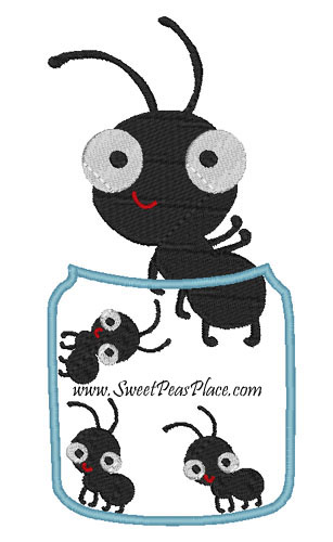 Ants in Jar for Vinyl Applique Embroidery Design