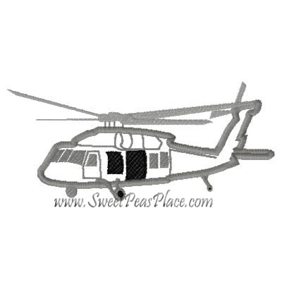 Black Hawk Helicopter Applique Embroidery Design