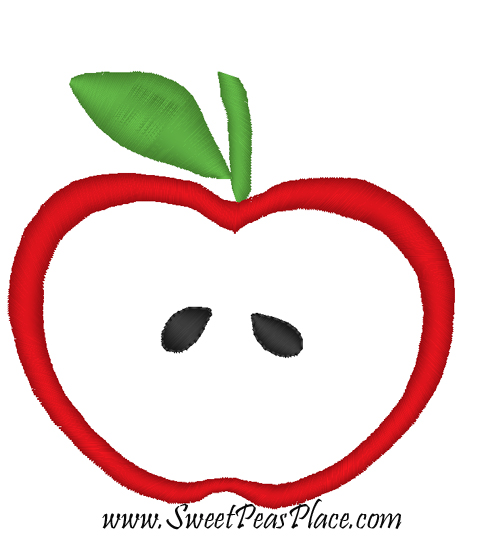 Apple with Satin Stitch Applique Embroidery Design