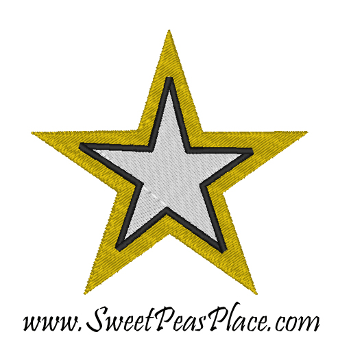 Army Star Filled Embroidery Design Including Mini
