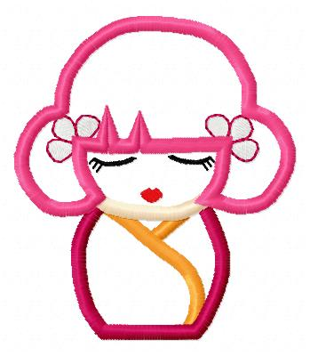 Asian Doll Applique Embroidery Design