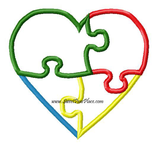 Autism Heart Applique Embroidery Design