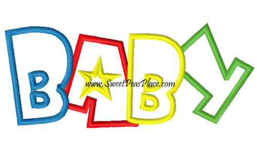 Baby Word Applique Embroidery Design