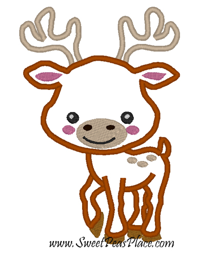 Baby Deer Applique Embroidery Design