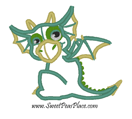 Baby Dragon Applique Embroidery Design