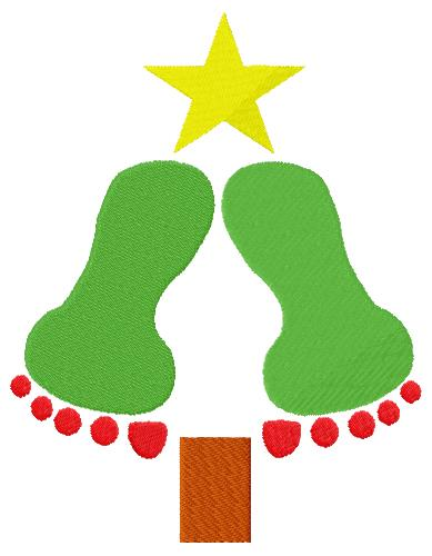 Baby Feet Christmas Tree Embroidery Design