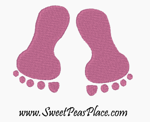 Baby Feet Filled Embroidery Design
