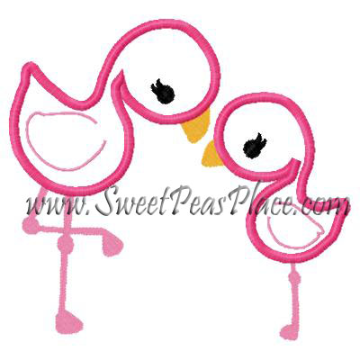 Baby Flamingos Applique Embroidery Design