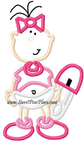 Baby Girl 4 Applique Embroidery Design