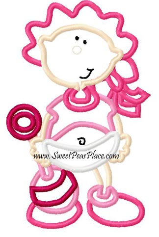 Baby Girl 5 Applique Embroidery Design