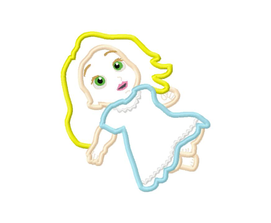 Baby Doll Applique Embroidery Design