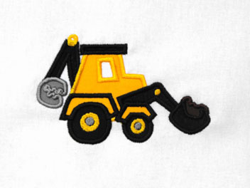 Backhoe Applique Embroidery Design
