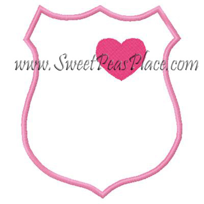 Badge with Heart Applique Embroidery Design