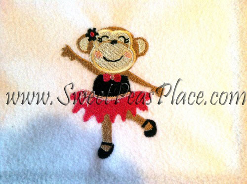 Ballerina Monkey Filled Embroidery Design