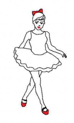 Ballerina filled with optional tutu embroidery design