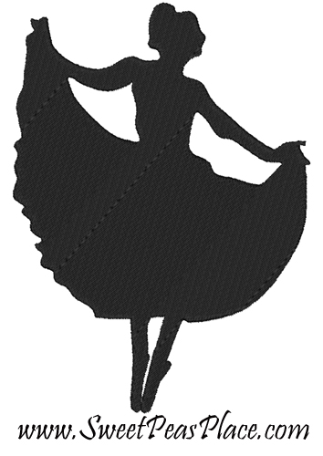Ballerina silhouette Filled Embroidery Design