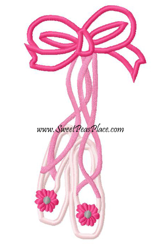Ballet Shoes with Flowers Applique Embroidery Design