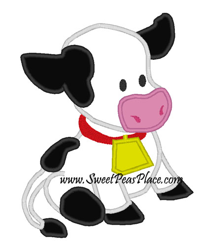 Barnyard Cow Applique Embroidery Design