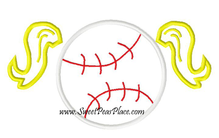 Baseball Pigtails Applique Embroidery Design