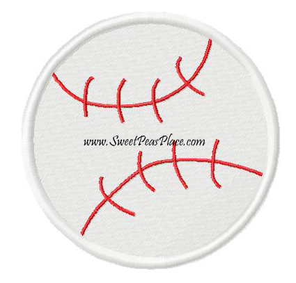 Baseball Filled Embroidery Design