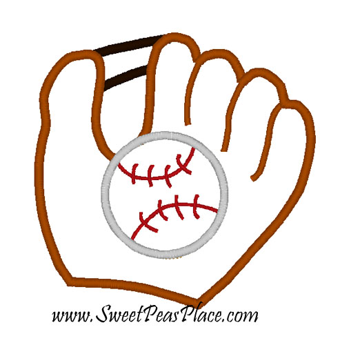 Baseball Mitt Applique Embroidery Design