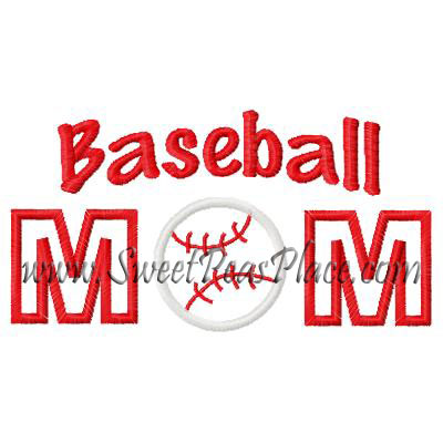 Baseball Mom Embroidery Applique Design