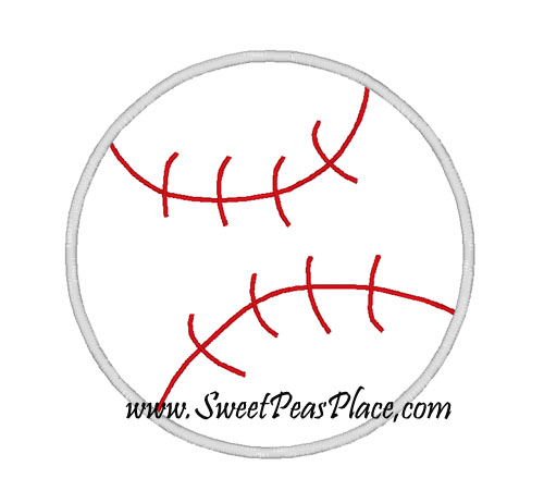 Baseball Applique Embroidery Design