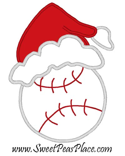 Baseball with Santa Hat Applique Embroidery Design