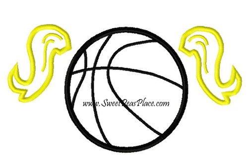Basketball Pigtails Applique Embroidery Design