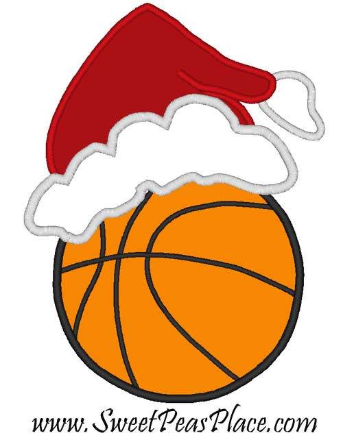 BasketBall With Santa Hat  Applique Embroidery Design