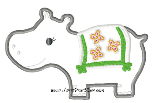 Summer Hippo Applique Embroidery Design