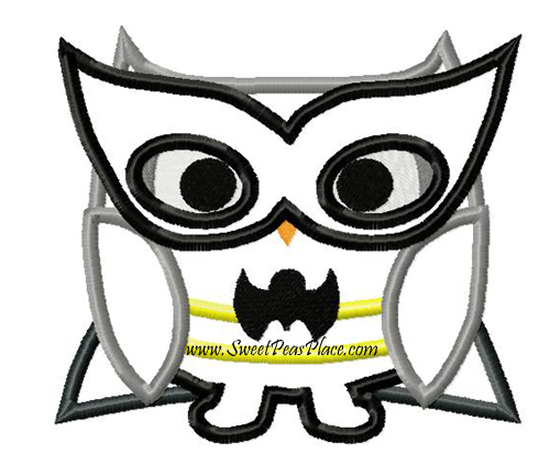 Bat Owl Applique Embroidery Design