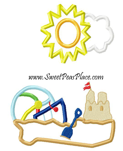 Beach Scene with Sandcastle Applique Embroidery Design