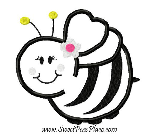 Bee Applique Embroidery Design