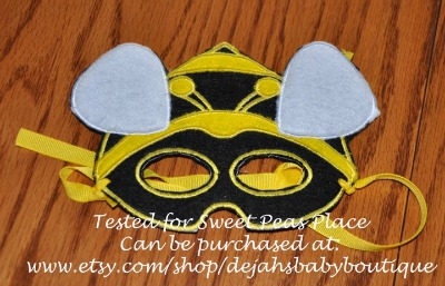 Bee Mask in the Hoop Applique Embroidery Design
