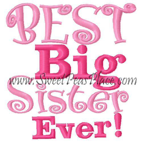 Best Big Sister Filled Embroidery Design