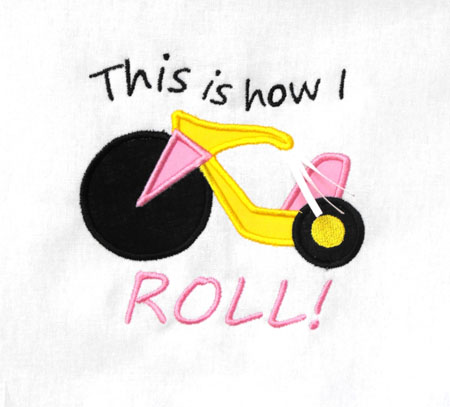 Big Wheel This is how I roll Applique Embroidery Design