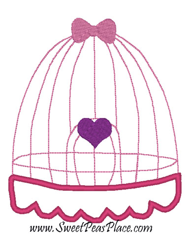 Bird Cage Applique Embroidery Design
