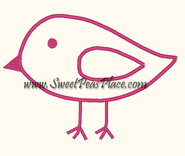 Basic Bird Applique Embroidery Design