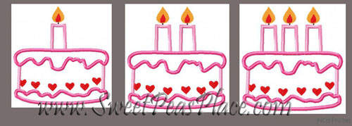 Birthday Cake Embroidery Applique Design