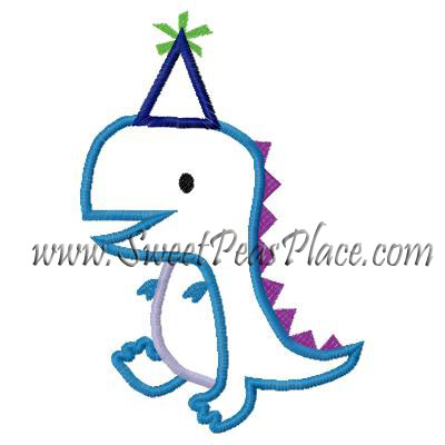 Birthday Dinosaur 2 Applique Embroidery Design