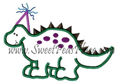Birthday Dinosaur Applique Embroidery Design